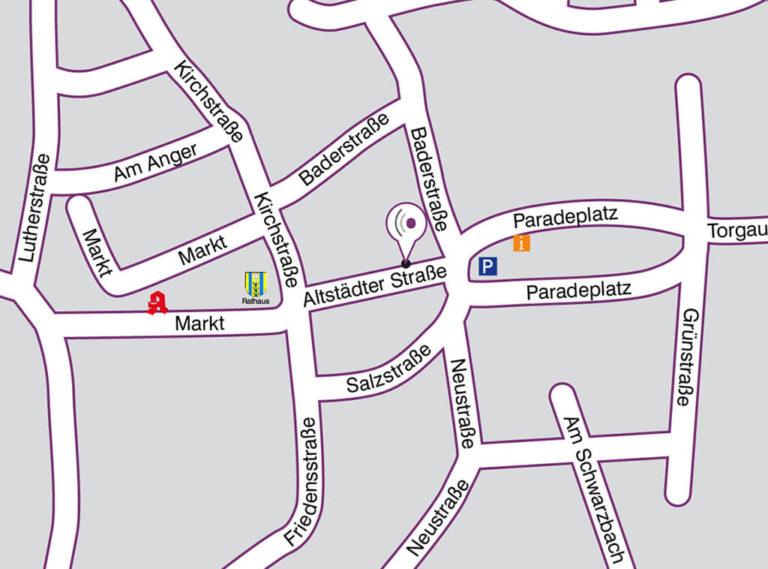 Anfahrt Straßenplan StandortBad Düben